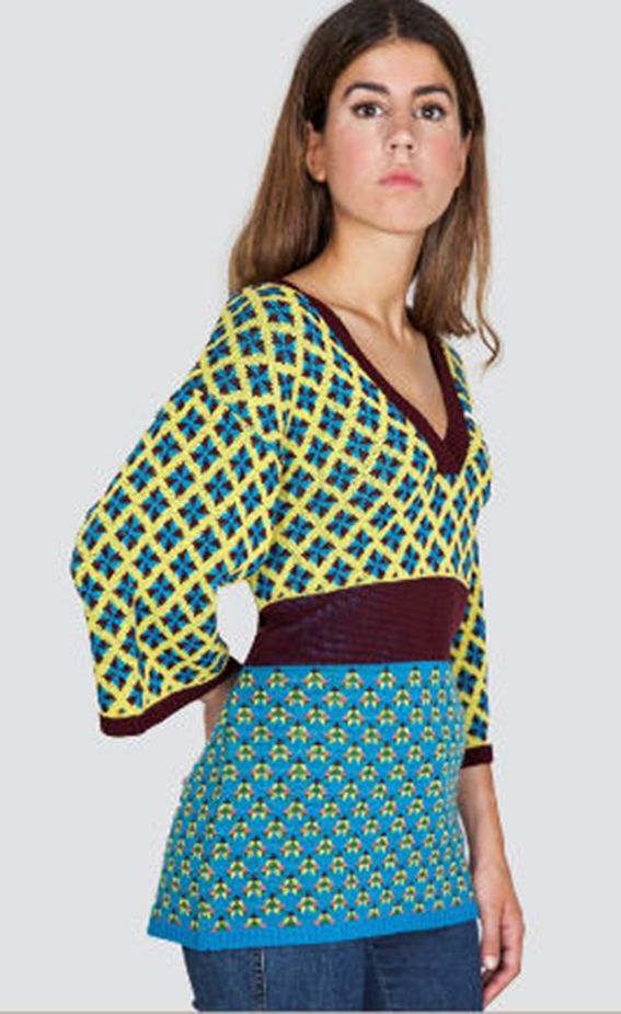 1. Tantrend V Neck Petrol Blue/Mustard Yellow Top - Madrid, Spain